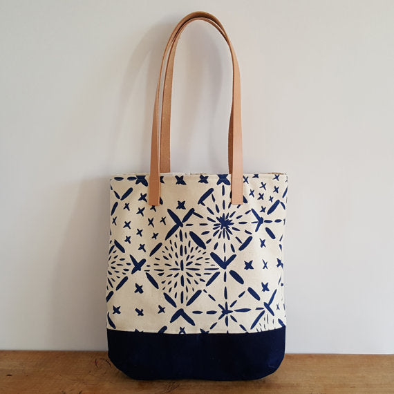 Chloe Derderian Gilbert Organic Shoulder Bag with Big Shashiko Pattern