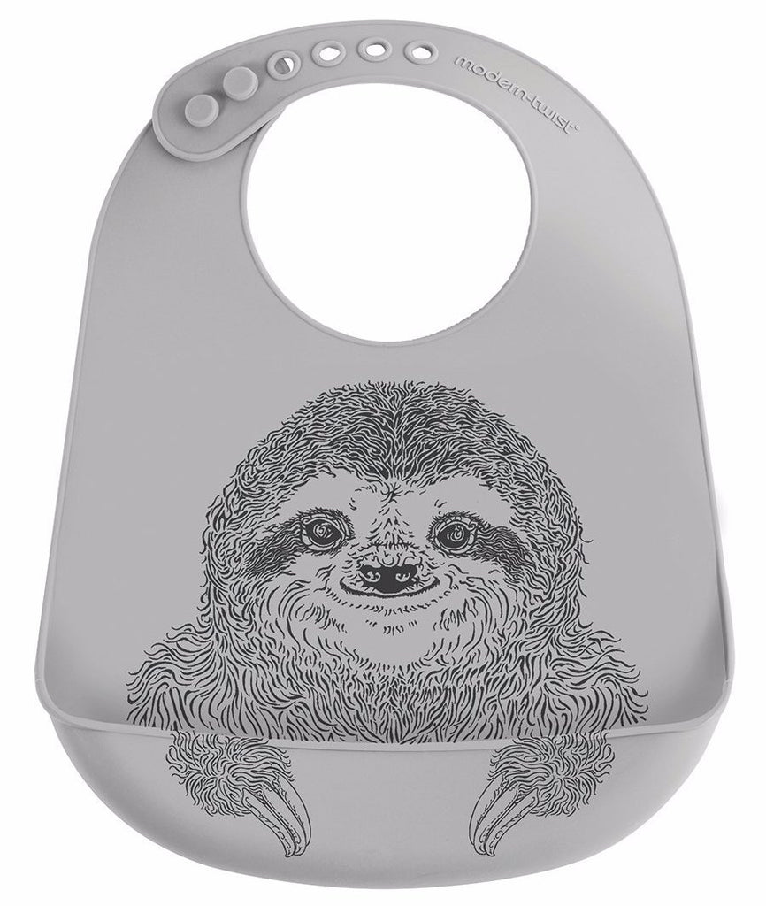 Mini-Twist Silicone Bucket Bib - Silly Sloth