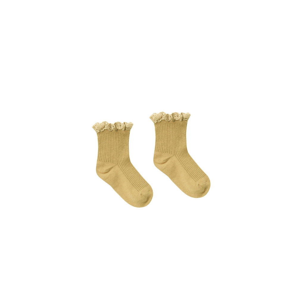 Rylee + Cru Lace Trim Socks - Citron