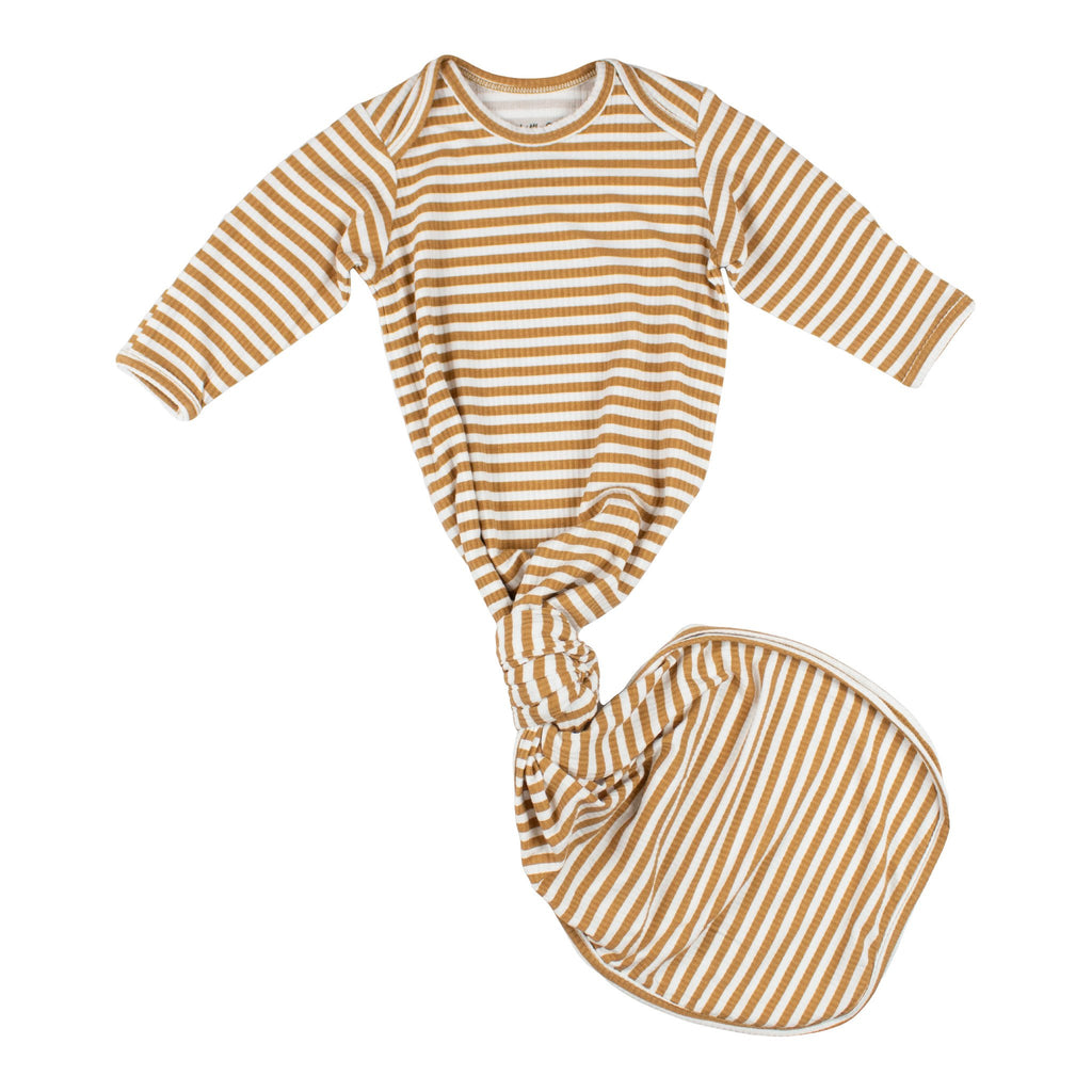 Ribbed Bamboo Knotted Gown - Camel Stripe