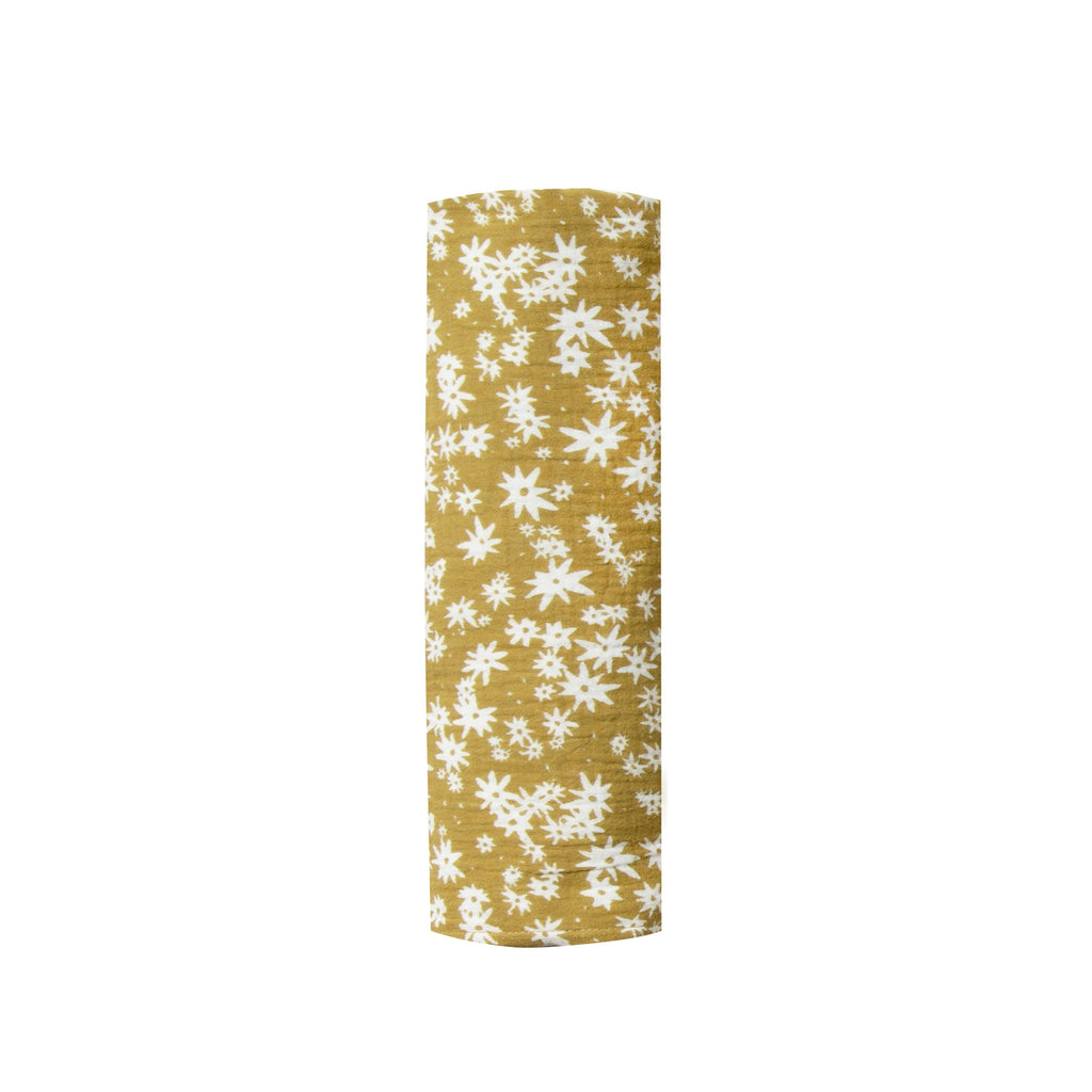Rylee + Cru Scattered Daisy Swaddle - Citron