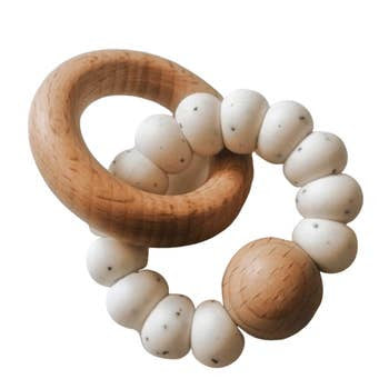 Silicone & Wood  Levi Teething Rattle - Speckled Ivory