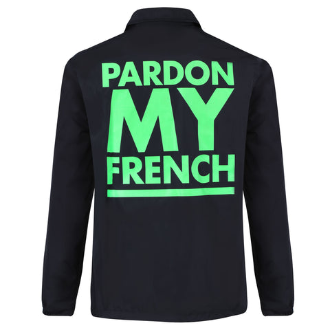COACH JACKET PARDON MY FRENCH CLASSIC LOGO NEON GREEN