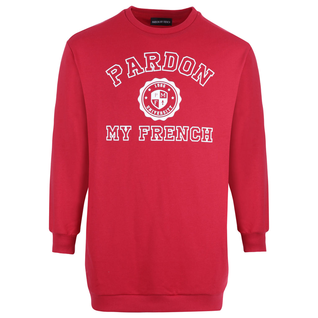 WOMEN LONG CUT CREWNECK UNIVERSITY RED