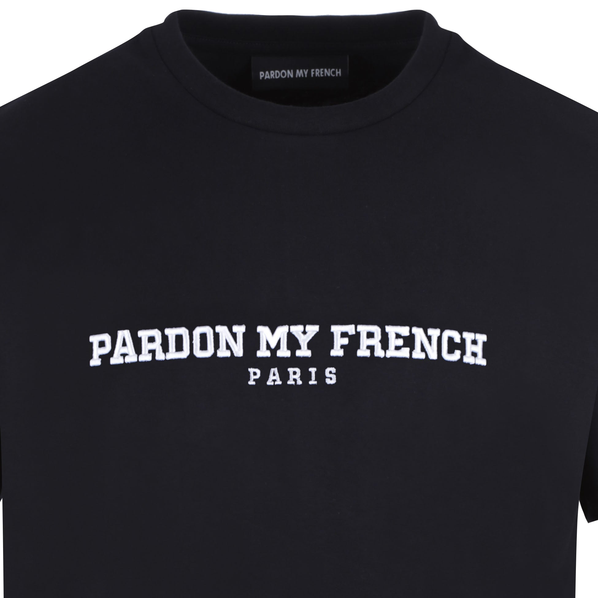 TSHIRT PARIS EDITION BLACK WITH WHITE EMBROIDERY