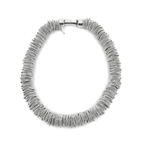 Piano String Spring Ring Statement Texture Necklace
