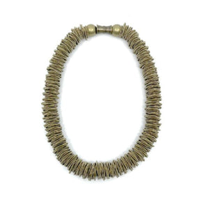 Brass Piano String Spring Ring Statement Texture Necklace