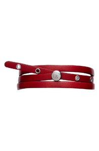 Sterling Silver & Red Leather Adjustable Wrap Bracelet