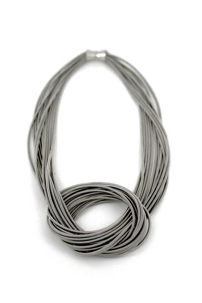 Piano String Silver Knot Necklace