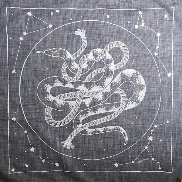 Cosmic Snake Faded Black Chambray Bandana
