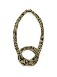 Piano String Brass  Knot Necklace