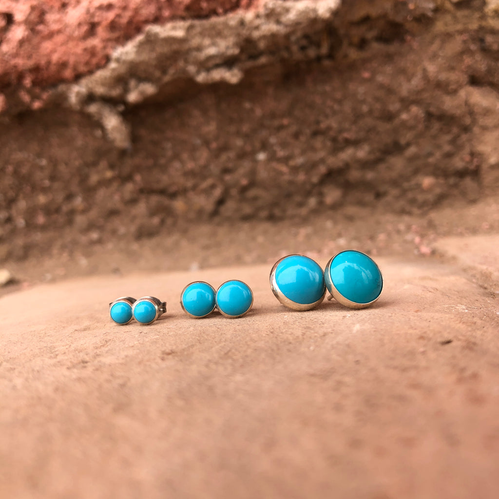 Simple Round Turquoise Sterling Silver Stud Earrings