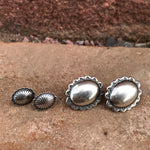 Concho Stud Earrings Sterling Silver