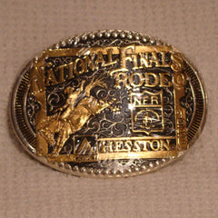 1998 Gold / Silver / Black Hesston Belt Buckle Men's