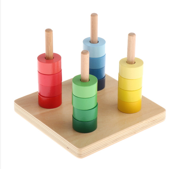 4 Colored Discs on 4 Horizontal Dowel