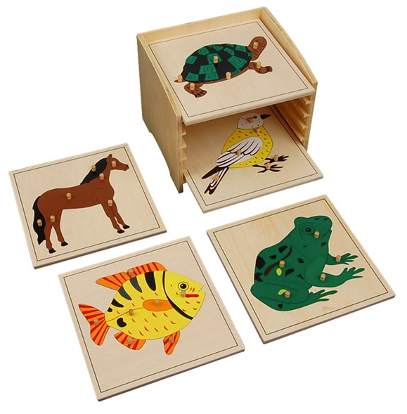 Animal Puzzle Cabinet with 5 Puzzles (Horse, Fish, Turtle, Bird, Frog)