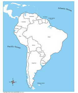 Labelled South America Control Map