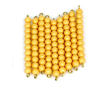 9 Golden Bead Bars of 10