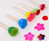 Children Flower/ Round Sponge Brush with Wood Handle ( 5 pcs/set)