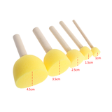 Children Round Sponge Brush with Wood Handle ( 5 pcs/set)