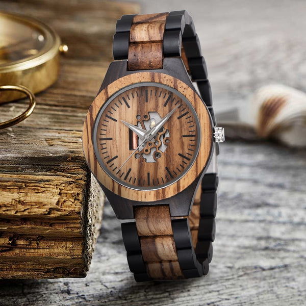 Wooden Watch with Movement Panel Unisex
