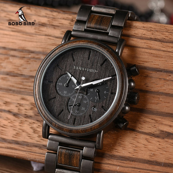 BOBO BIRD Wooden Watch Chronograph Style with Date