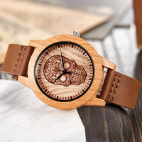 Imitation Wood Watch Unisex Quartz Wristwatch with Soft Leather Band