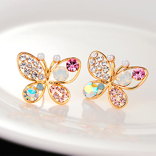 Crystal Simulated Pearl Butterfly Earrings Gold Color