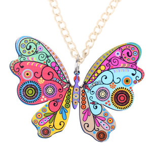 Butterfly Necklace Pendant Long Acrylic Pattern