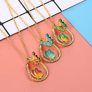 Gold Long Butterfly Necklaces