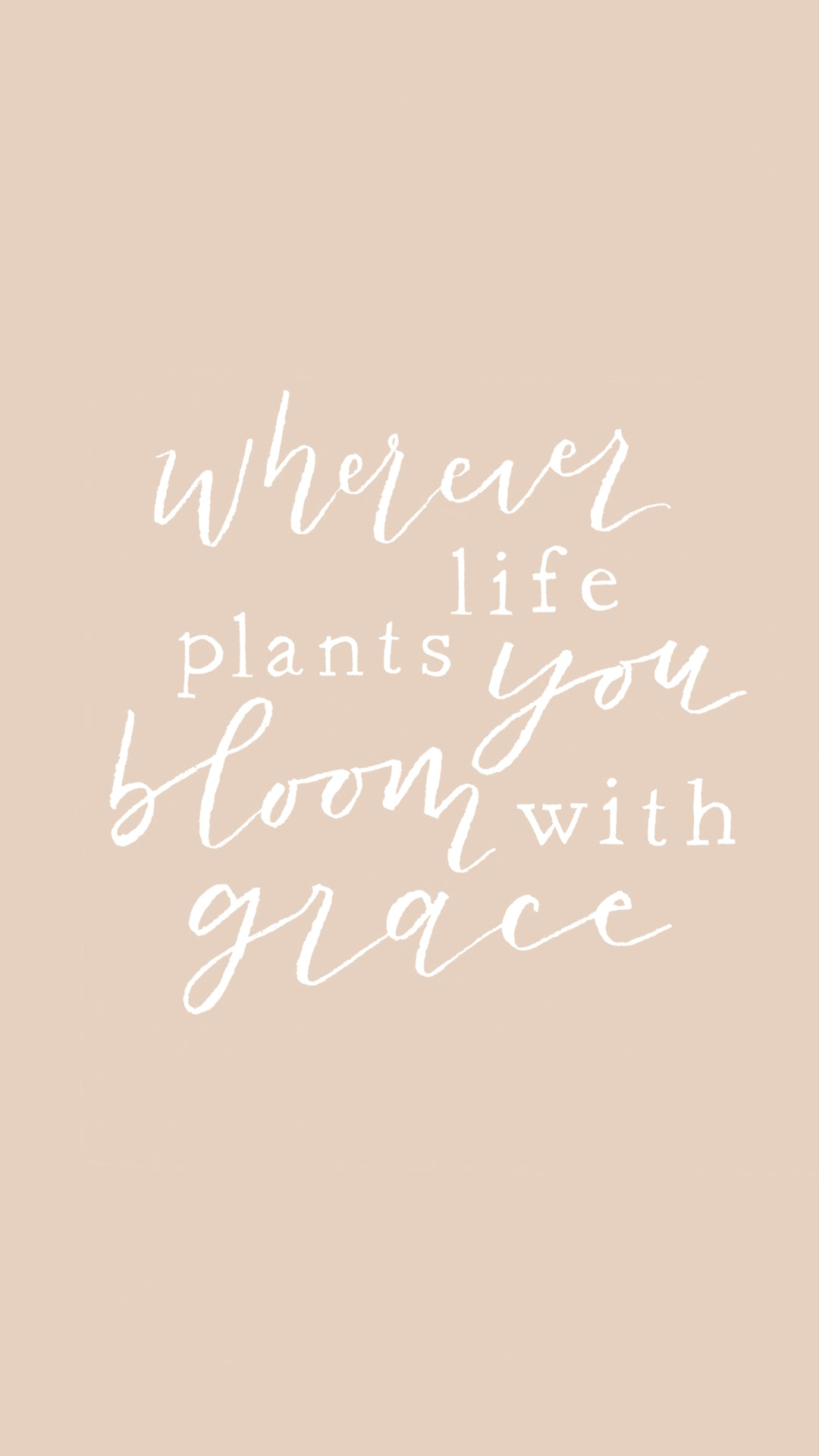 spring phone wallpaper plant grace quote