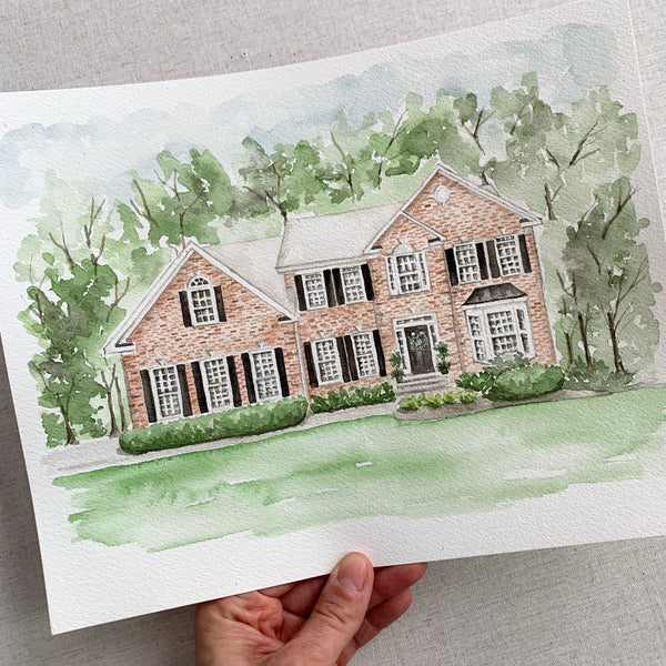 Watercolor Home Portrait