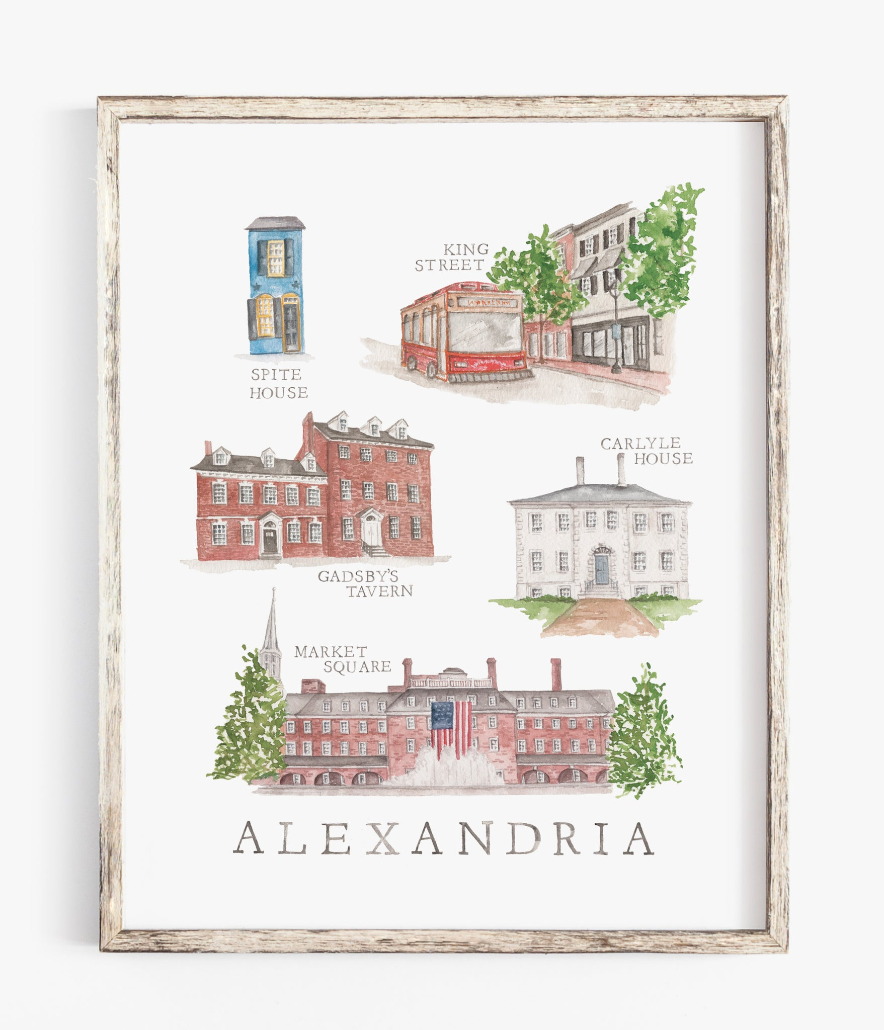 watercolor illustration print alexandria virginia wall decor