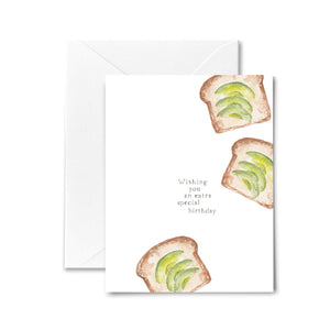 Happy Birthday Card Avocado Toast Watercolor