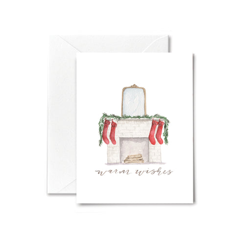 Christmas Card - Warm Wishes - Fireplace
