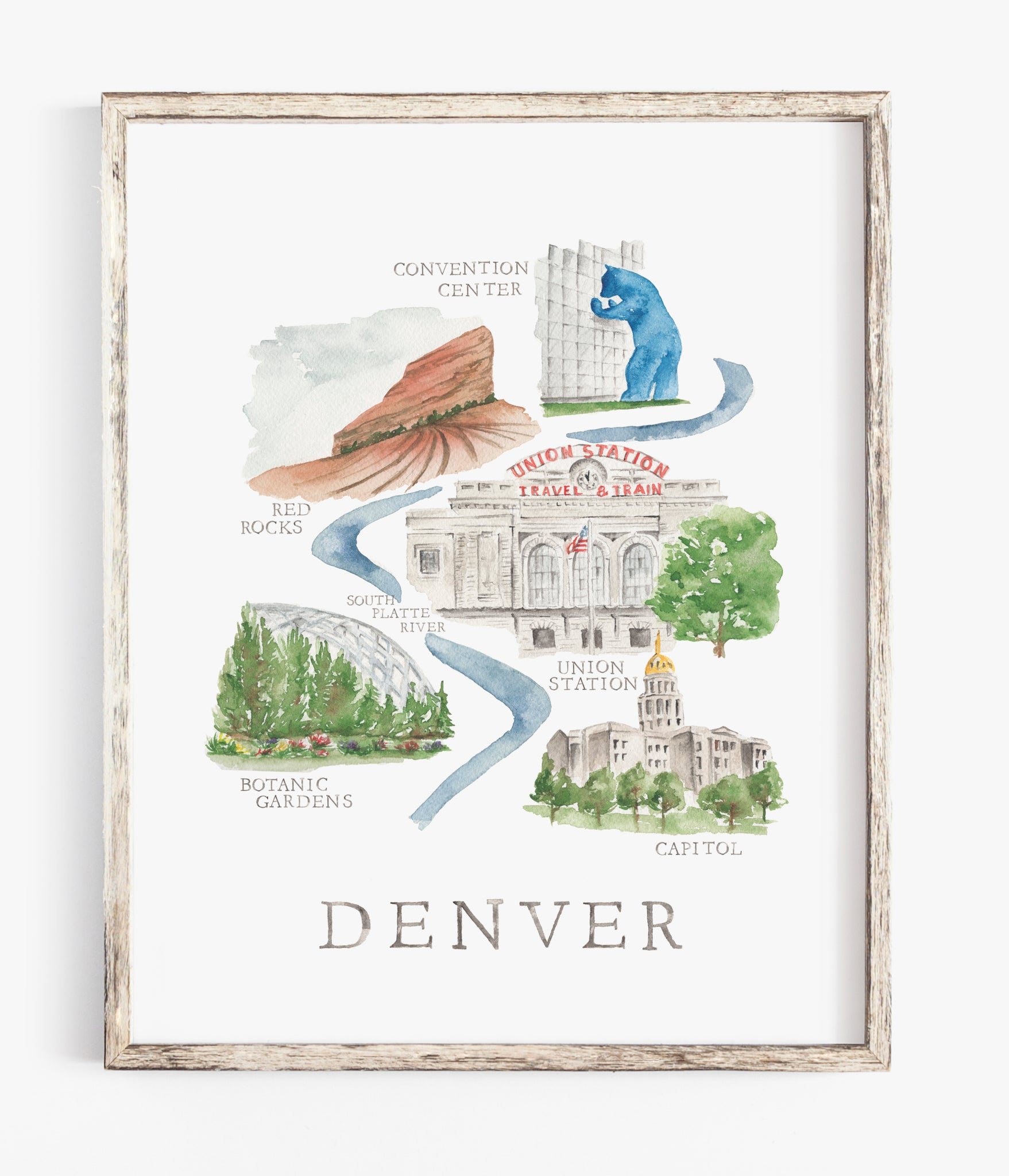 denver colorado city watercolor illustration wall print