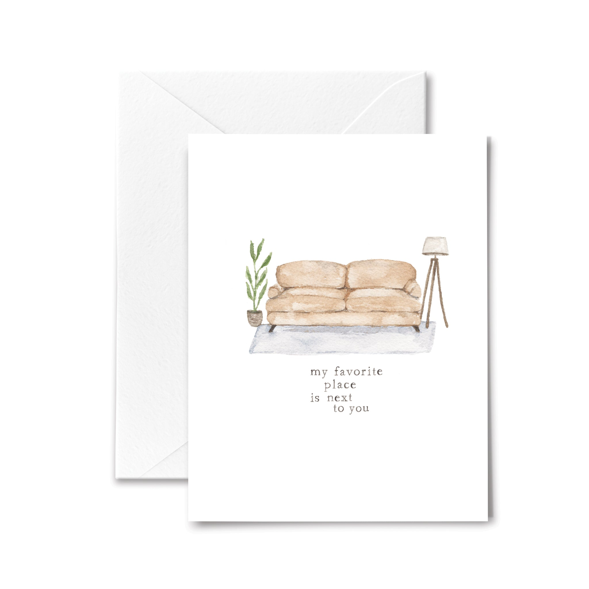 Love Anniversary Card Next You Watercolor Illustration