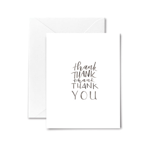 Thank You Card Many Thanks Watercolor Lettering