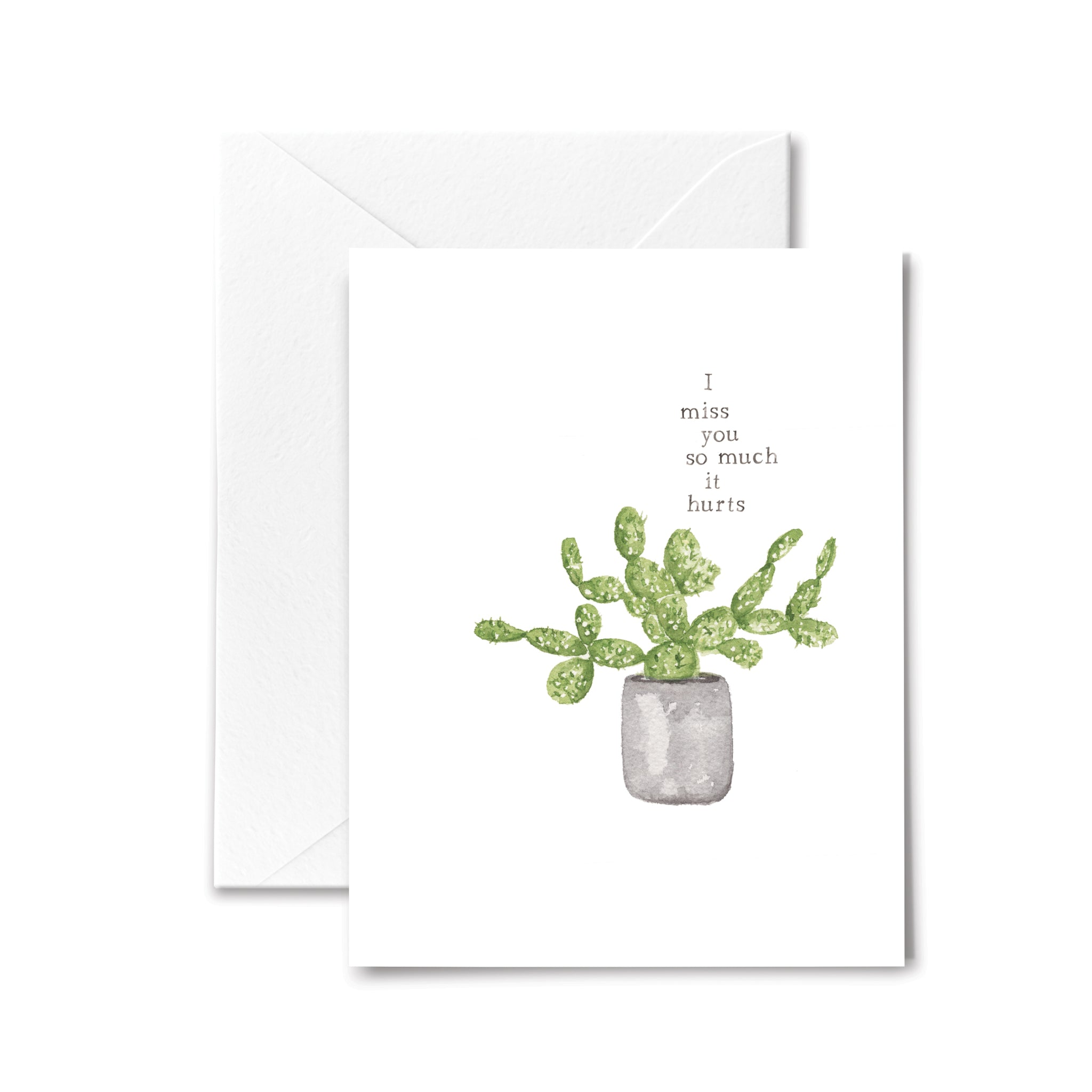 miss you card cactus watercolor illustration