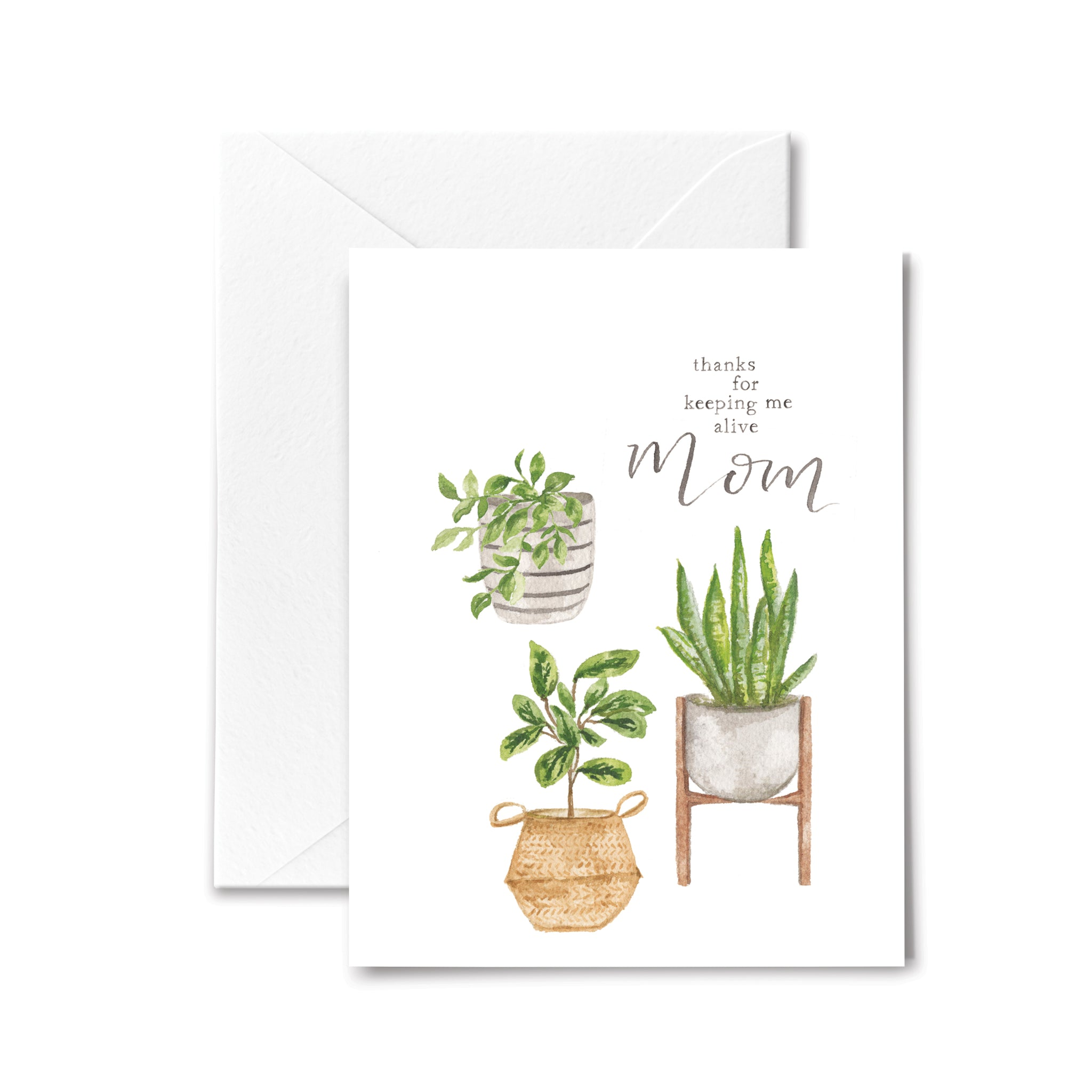 Mother's Day Card Keep Alive Plants Watercolor