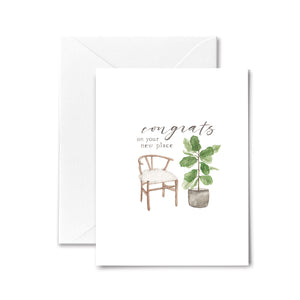 New House Card Congratulations Housewarming Boho Chair Plant