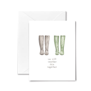 Sympathy Card Rain Boots Friendship Watercolor illustration
