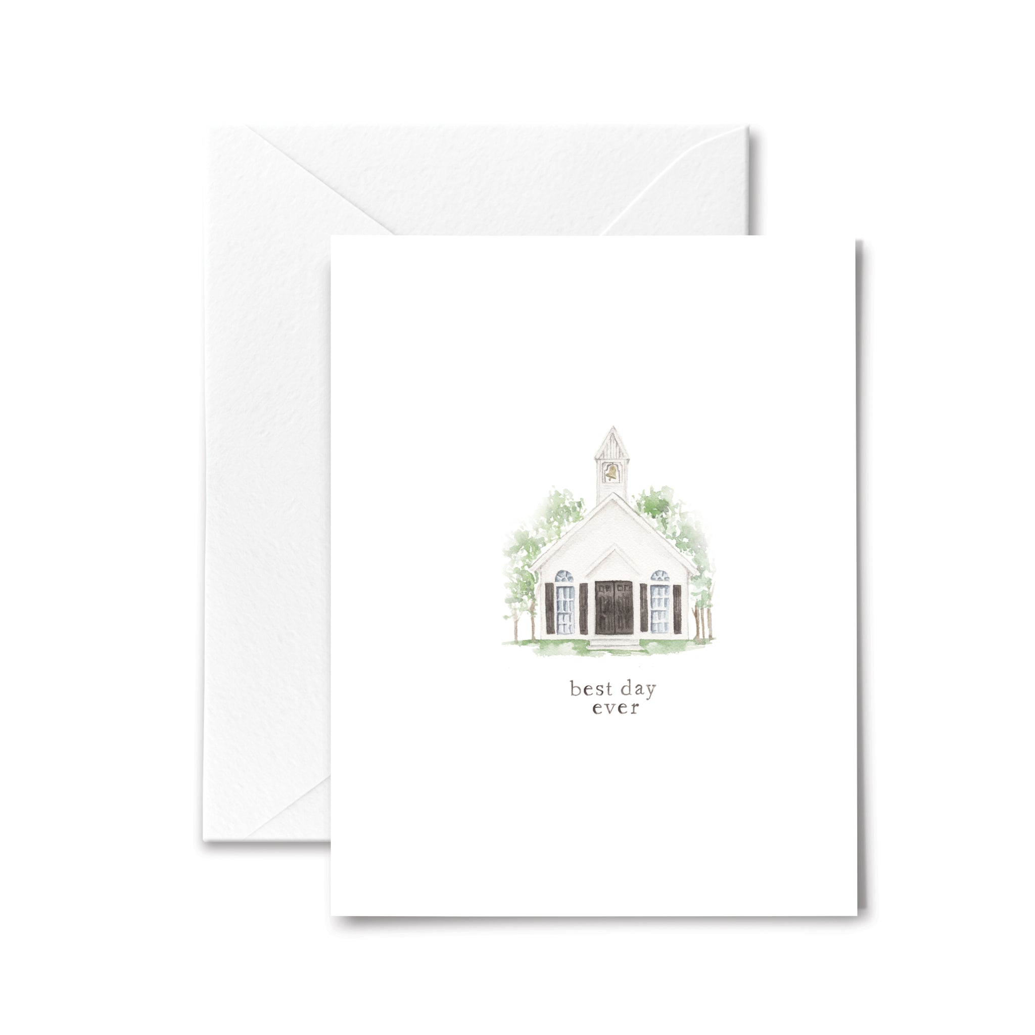 Wedding Card Chapel Wife Husband Best Day Watercolor Illustration
