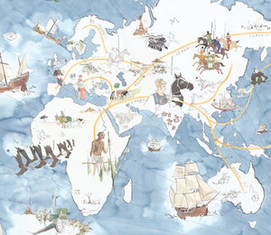 Illustrated map of Historical Human Migration.
