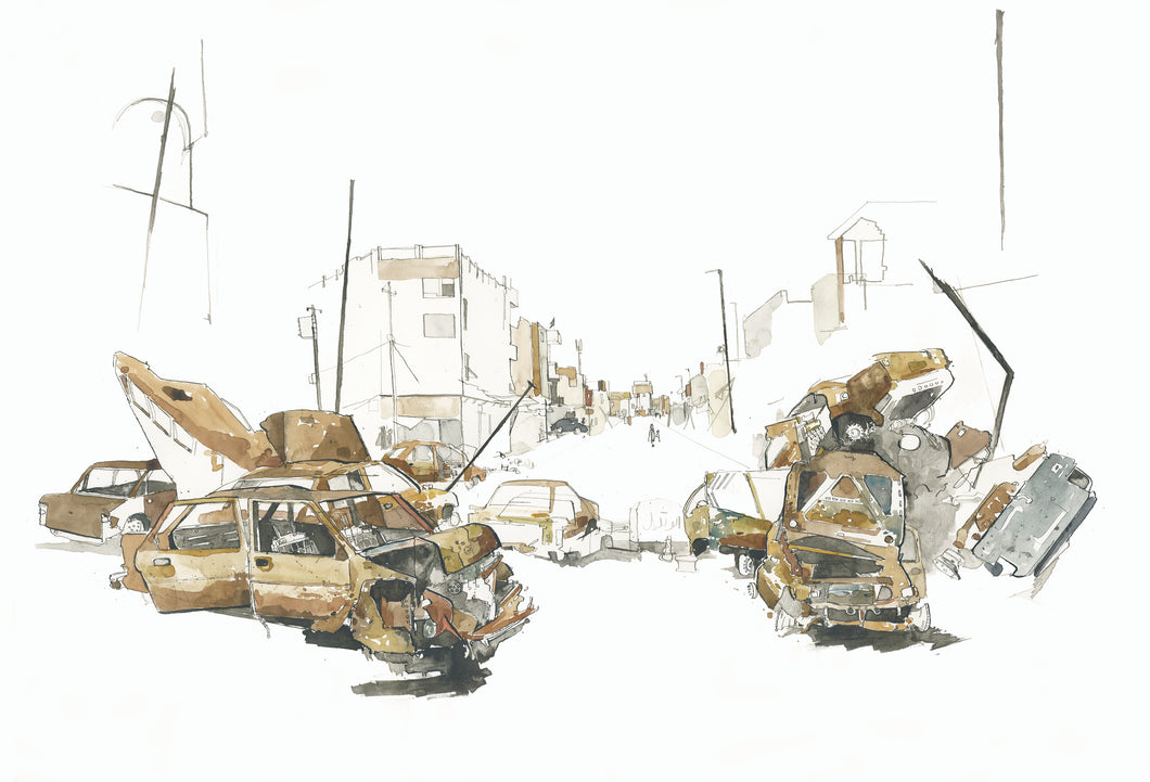 Burnt out cars in West Mosul, Iraq, Print