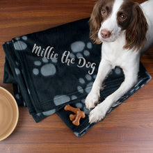 personalised dog paw blanket