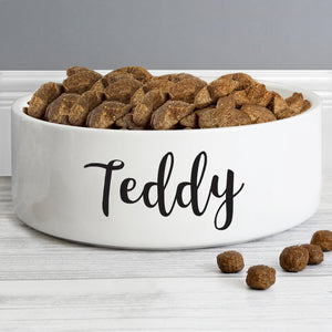 personalised medium white pet bowl