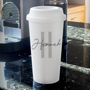 personalised initial and name insulated travel mug