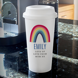personalised rainbow insulated travel mug
