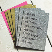 so she gives/wtf.. 2 design glitter mini notecards (pack of 6)